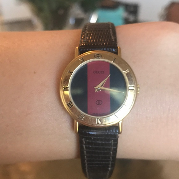 d0a133746 Gucci Jewelry | Vintage Watch With Black Leather Band | Poshmark
